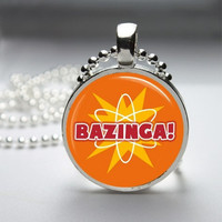 Photo Art Glass Bezel Pendant Bazinga Big Bang Theory Necklace