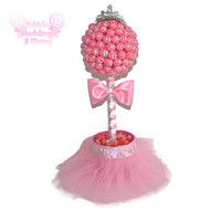 Pink Princess Lollipop Baby Shower Topiary, Its a Girl Centerpiece, Baby Girl, Baby Shower Centerpiece, Girl Baby, Pink Baby Shower, Candy