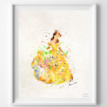 Belle Print, Beauty and the Beast, Watercolor Art, Type 3, Disney Poster, Room Art, Kids Art, Print Shop, Art Prints, Halloween Decor