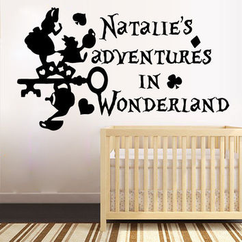 Wall Decals Custom Personalized Name Alice in Wonderland Sticker Vinyl Kids SM62