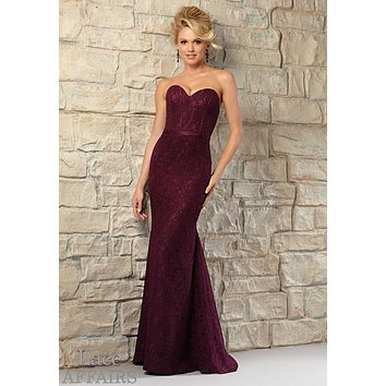 Morilee Bridesmaids 721 Strapless Lace Corset Style Dress
