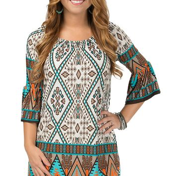R. Rouge Women's Cream, Brown and Turquoise Multi Aztec Print Dress