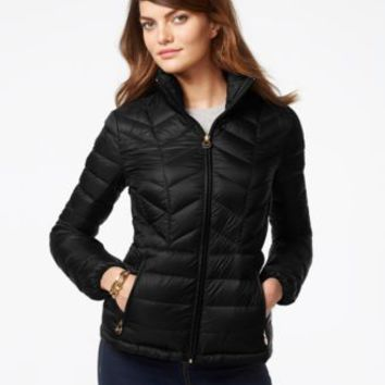 MICHAEL Michael Kors Chevron-Quilted Packable Down Jacket | macys.com