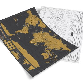 Free Shipping 1Piece Novelty Deluxe Scratch Map Scratch Off Map Travel Deluxe 42 x 29.7 cm 88 x52cm 82.5x61.2cm
