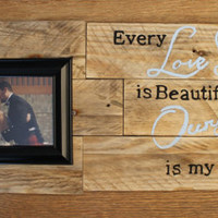 Rustic Love Story Picture Frame Sign