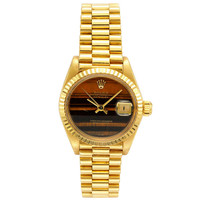 Rolex Lady's Yellow Gold Wristwatch with Tiger's Eye Dial