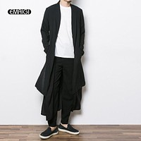 New China Style Mens Trench Jacket Male Long Sleeve Kimono Long Cardigan Jacket Punk Fashion Casual Trench Outwear