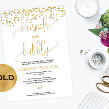 Brunch and Bubbly Invitation Bridal Shower Gold Glitter Confetti -  Printable Brunch Party Invitation Gold Glitter - Downloadable #WDH304_21