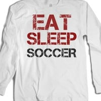 Eat Sleep Soccer long sleeve tee t shirt-Unisex White T-Shirt