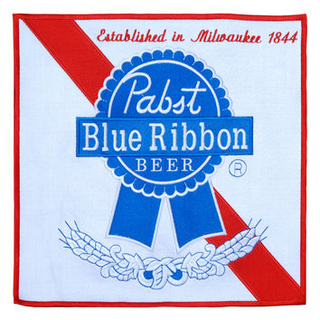 XXL Vintage Style Pabst Blue Ribbon PBR Beer Embroidered Patch 30cm