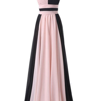 Simple Cheap Pink And Black Long Chiffon Prom Dresses OK25