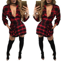 sexy mini dresses club wear 2016 autumn dress women long sleeve plaid bodycon dress plus size women clothing