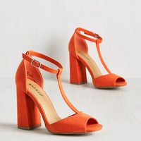 Got You in My Insights Heel in Tangerine | Mod Retro Vintage Heels | ModCloth.com