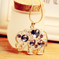 Crystal Elephant Sweater Chain Necklace