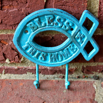 Metal Wall Hook /Aqua /Bright Shabby Chic Decor by AquaXpressions