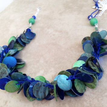 Mussel shell blue green colorful crochet hemp necklace, multi strand blue green chunky crocheted necklace, colorful fun disk shell necklace