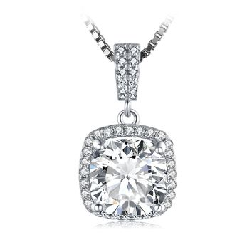 Jewelry Palace Cushion 3ct Cubic Zirconia Halo Solitaire 925 Sterling Silver Pendant Necklace 18 Inches