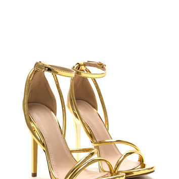 Haute Night Strappy Metallic Heels