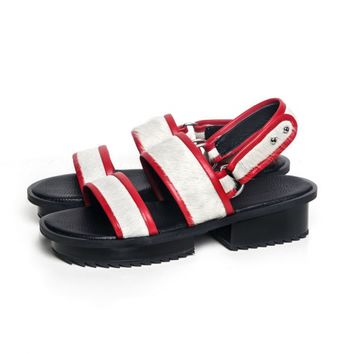 Jamie Wei Huang Nibbana leather sandal white-red