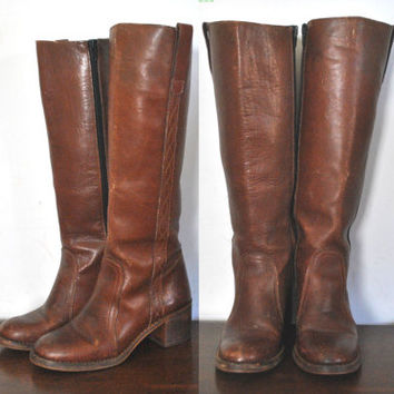 1970s Chestnut Brown Boots / Leather Campus / size 7.5