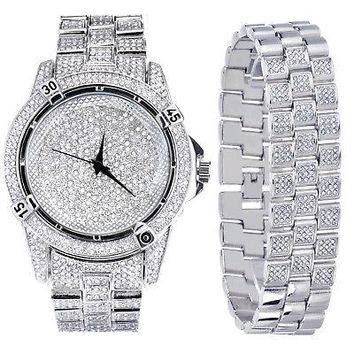 Jewelry Kay style Men's Fashion Analog Iced Out CZ Heavy Stoned Watch & Bracelet SET WM 7754 S