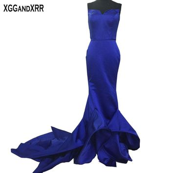 New Arrival Satin Mermaid Prom Dress 2017 Off Shoulder Pleat Backless Vestido De Festa Sweep Train Custom Made Formal Party Gown