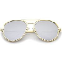 Geometric Hexagonal Mirrored Lens Aviator Sunglasses A827