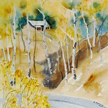 Mountain Cabin in Autumn by  E. Falig Watercolor Painting
