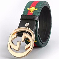 GUCCI men and women couple models classic double G buckle smooth buckle belt Gold buckle