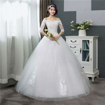 Lace Half Sleeve Floral Print Ball Gown Wedding Dress Embroidery Sweetheart