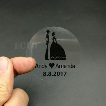 100pcs 5cm Customize Personalised Clear Transparent Birthday Wedding Invitation Envelope Seals Stationery Sticker