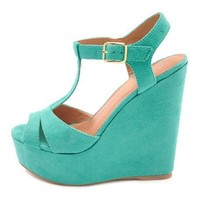 Sueded T-Strap Wedge Sandal: Charlotte Russe