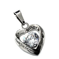 R.H. Jewelry Mother in Law Heart Stainless Steel CZ Pendant Necklace Thank You for Raising the Man