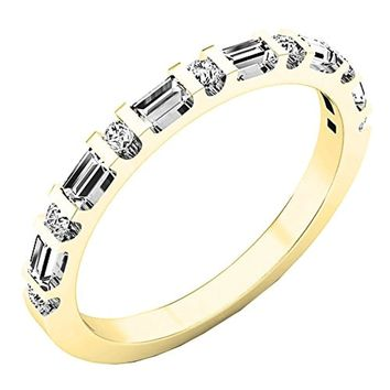 CERTIFIED 0.33 Carat 14K Gold Round & Baguette Diamond Ladies Anniversary Wedding Band
