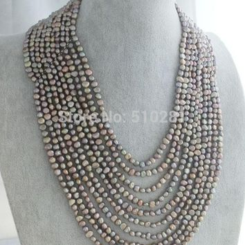 LK-2083 Luxury 10 Rows 6-7mm Freshwater Baroque Pearl Necklace Fit 2016 African Party Jewlery
