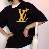 LV 2019 new classic letter printing men and women round neck short-sleeved T-shirt black