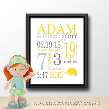 yellow gray birth stats wall art custom baby print nursery birth art birth sign new baby decor personalized baby stats baby birth date gift