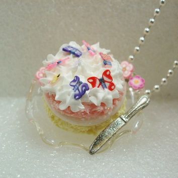 Iced Angel  Cake Pendant. Polymer Clay.
