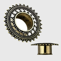 """Dharma Filigree Brass And 316l Tunnels (4g-5/8"""")"""