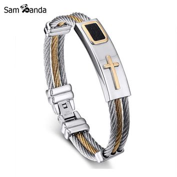 2017 New Gold Jesus Cross Bracelet Men Jewelry Stainless Steel Mens Rock Bracelets & Bangles Leather Pulseira Masculina YK3020