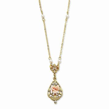 "Gold-tone Crystal/Pink Porcelain Rose/Cultura Glass Pearl 17"""" Necklace"""""