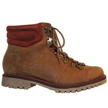 ESBONIG Coolway Bridget - Brown Leather Lace-Up Hiking Boot