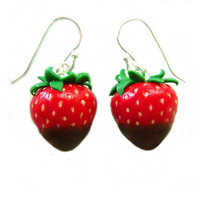 Strawberry Earrings - Miniature Food - Chocolate Dipped