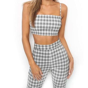 Grey Plaid Cropped Top Flared Pants (2 Piece Set)