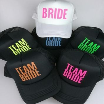 Trendy Winter Jacket NEON Bachelorette Party Hat BRIDE TEAM BRIDE snapback hats TOTALLY CUSTOMIZABLE Vegas Mexico Pool Parties mesh trucker hat caps AT_92_12