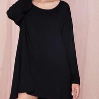 Black Long Sleeve Hem Dress
