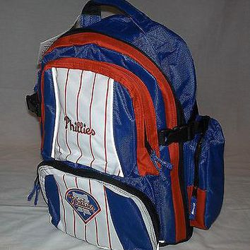 MLB NWT EMBROIDERED ADULT 3 COMPARTMENT BACKPACK - PHILADELPHIA PHILLIES