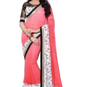 Gorgeous Coral Print Bordered Designer Chiffon Saree D-214