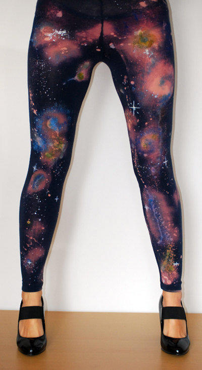 Galaxy nebula cosmic leggings hand painted size