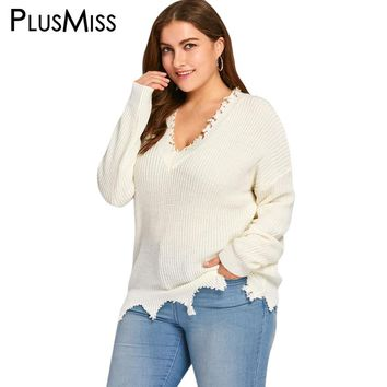 Plus Size 5XL White Ripped Knitted Pullover Sweater Oversized Women Autumn Winter Warm Soft Loose Jumper Pull Femme 2017